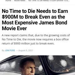 007 노타임투다이 손익분기점이 9억달러 ㅋㅋ ㅅㅂ